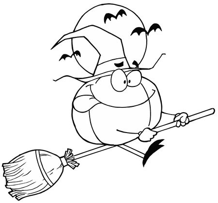 Outlined Witch Pumpkin Stock Photo - 6971266