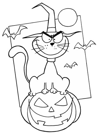 Outlined Cat on Pumpkin Stock Photo - 6971262