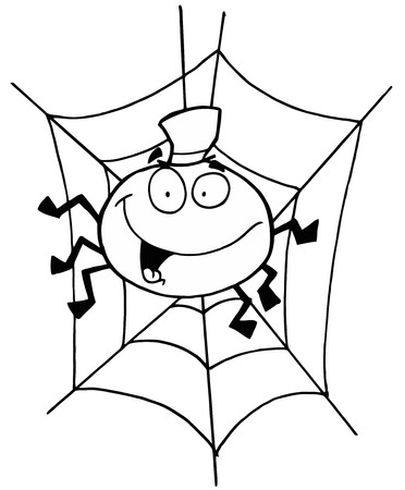 halloween spider: Outlined Spider in Web