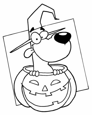 Outlined Dog in Pumpkin photo