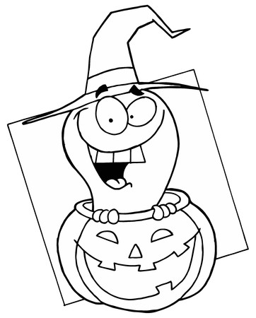 Outlined Ghost in Pumpkin photo