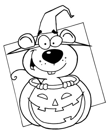 Outlined Mouse in Pumpkin photo