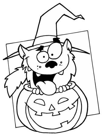 Outlined Werewolf in Pumpkin Stock Photo - 6971273