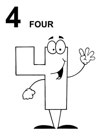 Friendly Outlined Number 4 Four Guy With Text