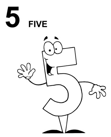 Friendly Outlined Number 5 Five Guy With Text