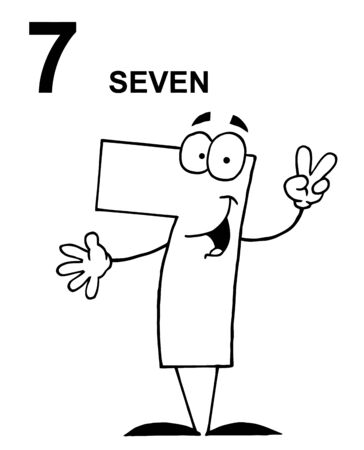 numbers clipart: Friendly Outlined Number 7 Seven Guy With Text