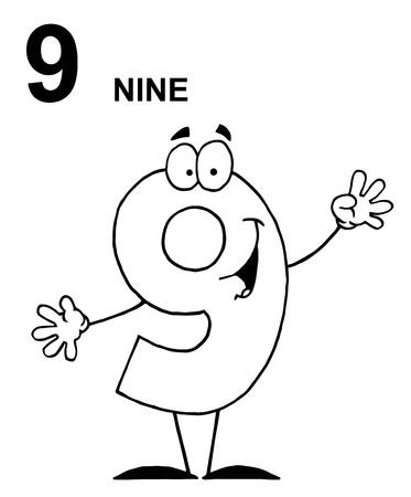 cartoons designs: Numero di contorno amichevole 9 nove Guy Archivio Fotografico