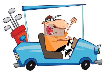 Golfer Guy rijden een Blue winkel wagen
