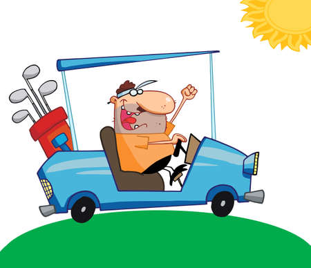 Golfer Man Driving A Cart On A Sunny Day Vector