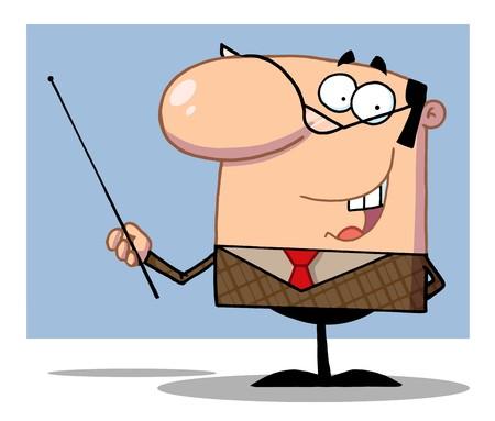 instructions: Sorridente imprenditore detiene un bastone di puntatore
