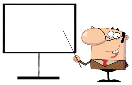 adults learning: Businessman Pointing A Stick At A Blank Board Illustration