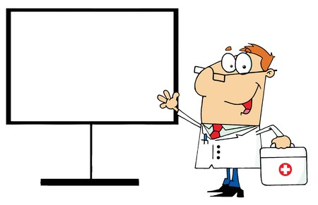 dr: Friendly Male Doctor Standing By A Blank Board