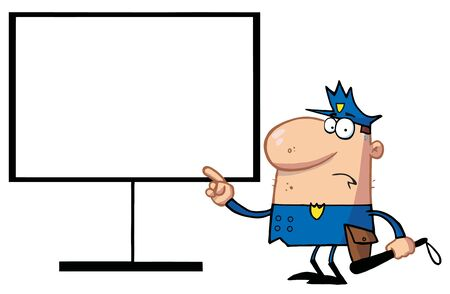 Police Man Pointing To A Blank Sign Vector