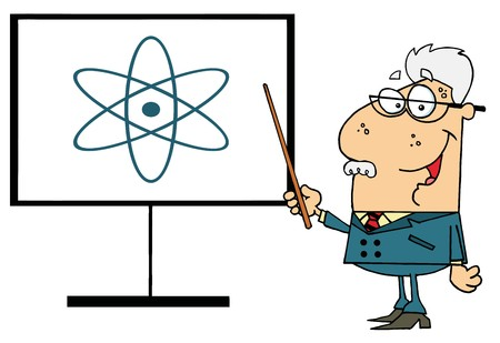 physicists: Senior Professor Pointing To An Atom Sign