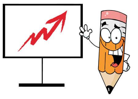 Happy Pencil Beside An Arrow Board Stock Vector - 6971132