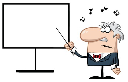Senior Music Teacher Pointing To A Blank Board Ilustracja