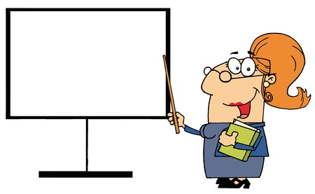 Happy Female Teacher Pointing To A Blank Board Vector