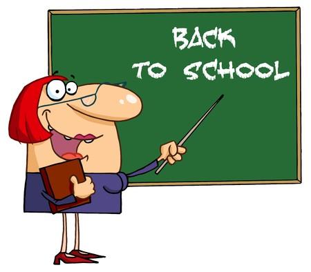 femme professeur: Accueillir les enseignants vers la A Back To School tableau noir