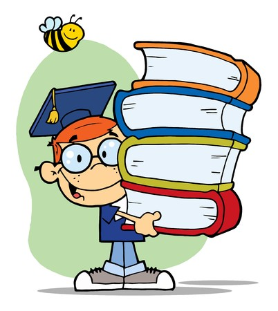 book: Bee Over A Happy Red Head Graduate School Boy Carrying A Stack Of Books Illustration
