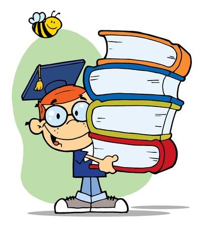 bücherwurm: Biene Over A Happy Red Head Graduate School Boy Carrying A Stack Of Books  Illustration