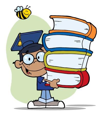 garçon ecole: Abeille sur un bonne Boy noir, Ecole transportant une pile de livres