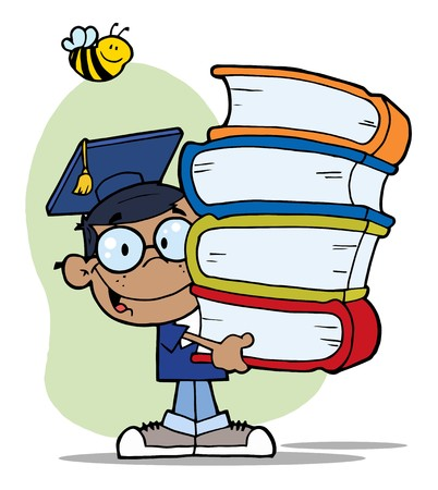 bookworm: Bee Over A Happy Black Graduate School Boy Carrying A Stack Of Books Illustration