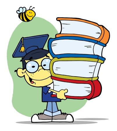Bee Over een Happy Oosterse Onderzoekschool Boy draag een stack van boeken  Stock Illustratie