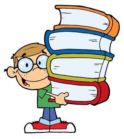 libros: Inteligente del Cáucaso School Boy con una pila de libros  Vectores