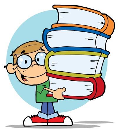 Inteligente Dirty Blonde School Boy con una pila de libros Vectores