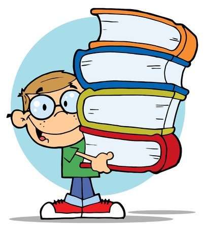 Smart Dirty Blond School Boy Carrying A Stack Of Books Stock Vector - 6971177