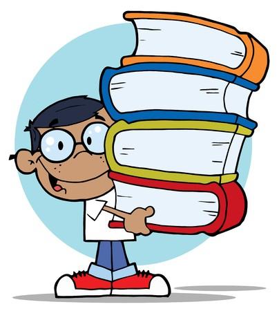 Boy de la escuela hispana inteligentes con una pila de libros