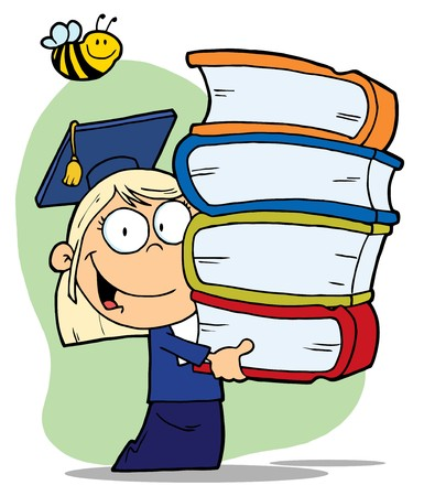Bee Over A Blond Graduate School Girl Carrying A Stack Of Books Illustration
