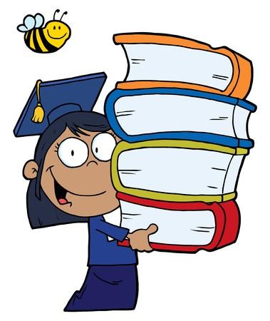 afroamericanas: Abeja sobre una chica de escuela de posgrado de Estados Unidos de �frica con una pila de libros  Vectores