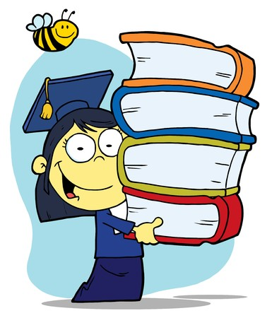 Bee Over An Asian Graduate School Girl Carrying A Stack Of Books Illustration