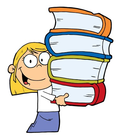 Smart Blond Caucasian School Girl Carrying A Stack Of Books Vector