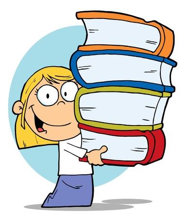 libro caricatura: Inteligente Blond School Girl con una pila de libros Vectores