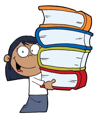 afroamericanas: Smart African American School Girl con una pila de libros  Vectores