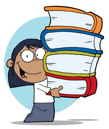 Smart Black School Girl Carrying A Stack Of Books Vector