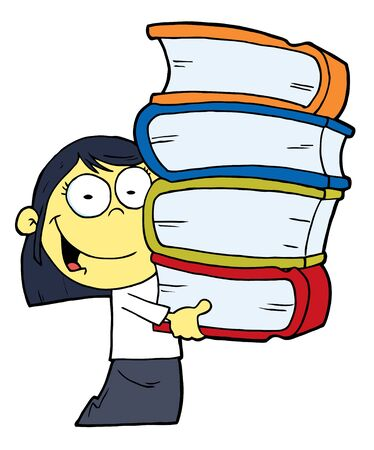 bookworm: Smart Asian School Girl Carrying A Stack Of Books Illustration