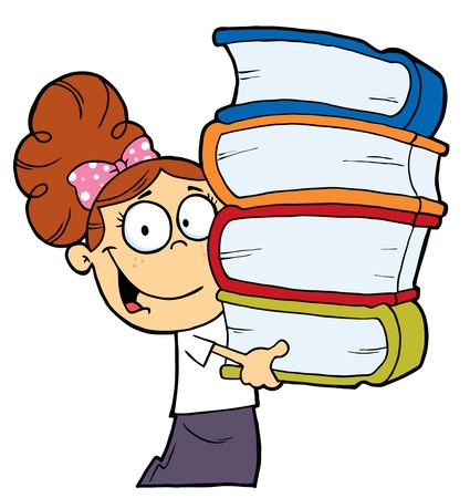 Smart Brunette Caucasian School Girl Carrying A Stack Of Books