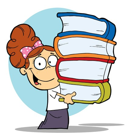 Smart Brunette School Girl Carrying A Stack Of Books