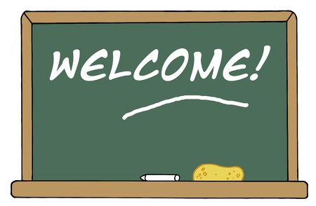 Welcome Chalkboard In A Classroom Vector