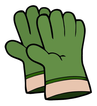 stock clipart icons: Pair Of Green Gardening Hand Gloves