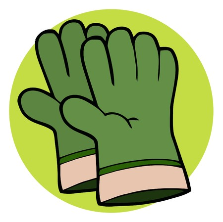gardening tools: Pair Of Green Gardeners Hand Gloves