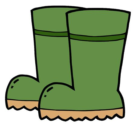 drawings image: Pair Of Green Gardening Rubber Boots