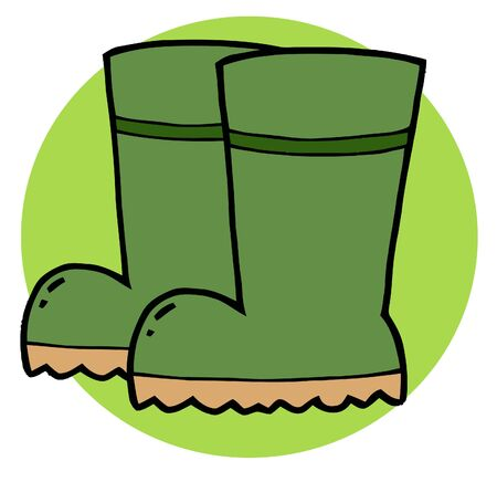 rubber boots: Pair Of Green Gardeners Rubber Boots