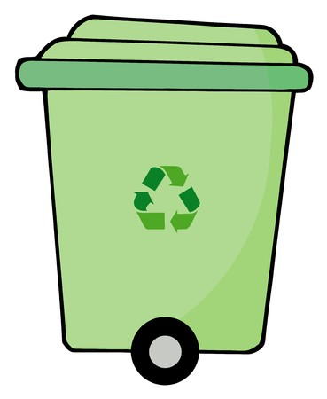 papelera de reciclaje: Verde de la planta papelera de laminaci�n Foto de archivo