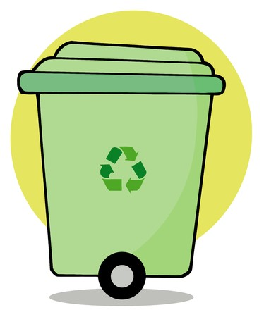 printables: Rolling Green Recycle Bin Stock Photo
