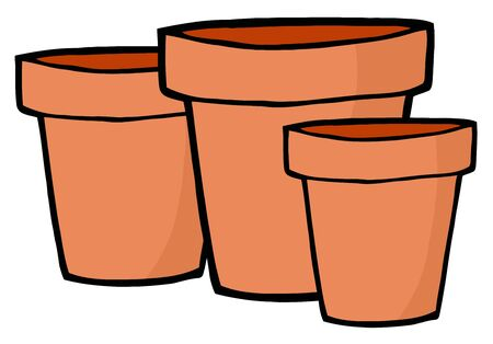 terra cotta: Three Terra Cotta Pots Stock Photo