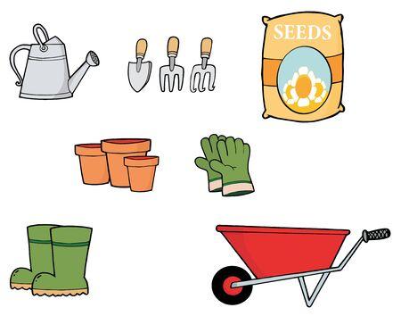 carretilla: Collage digital de herramientas de jardiner�a